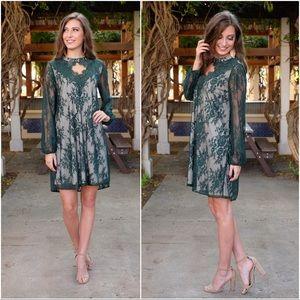 ✨RESTOCKED✨Green Lace Long Sleeve Dress